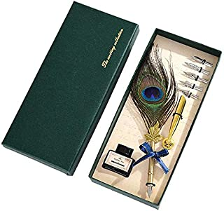 SKY-TOUCH Vintage Peacock Feather Quill Dip Pen Writing Ink Set Perfect for Signning Handwriting School Office Stationery ...