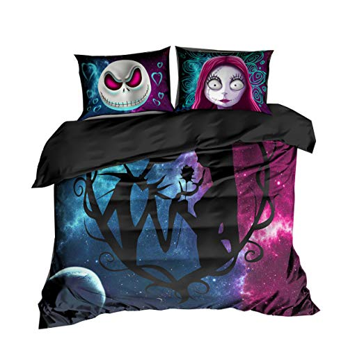 KTLRR - Juego de funda de edredón para cama individual, diseño de calabaza con texto en inglés 'The Nightmare Before Christmas', Jack and Sally, Matrimonio doble