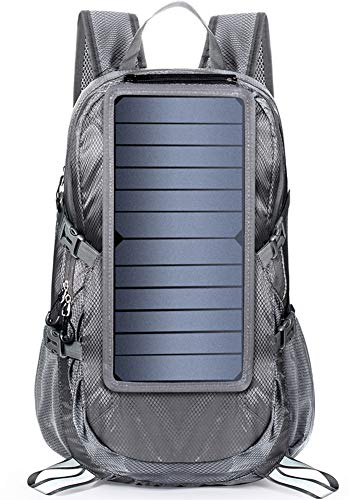 LIEOAGB Solar Charging Backpack with 7 Watt Solar Panel USB-Port Foldable Solar Panel Bag Lightweight Outdoor Waterproof Mountaineering Backpack, Black, One Size