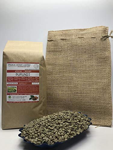 5 Pounds – Northern Africa – Burundi – Unroasted Green Coffee Beans – Grown In Region Kirimiro – Altitude 1400-1750 Meters – Bourbon – Drying/Milling Process Is Washed, Sun Dried - Includes Burlap Bag