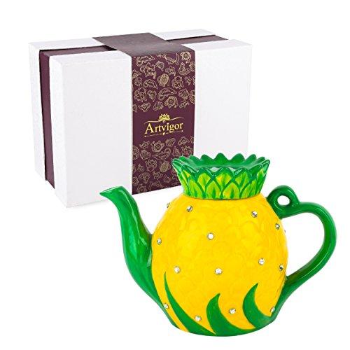 Artvigor Teiere Caffettiere Caraffe per tè e caffè in Porcellana Ceramica Anana e Diamante Set da caffè tè per Una Persona Colori Misti Giallo e Verde 1200ml