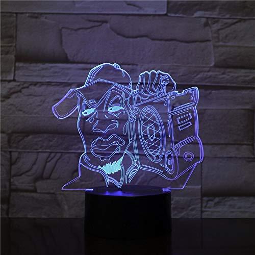 jiushixw 3D driedimensionale kleurverandering nachtlampje met afstandsbediening chroom designer tafellamp dansbal kleurrijke dans creatieve ideeën geschenk statief vloerlamp en tafellamp