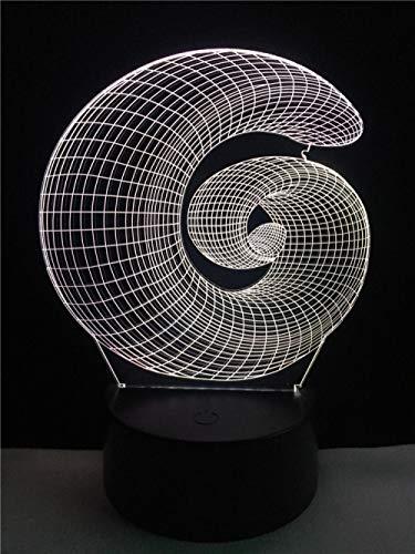 Lámpara LED con forma de caracol geométrica en 3D, iluminación gradiente, luz nocturna multicolor, interruptor táctil, luminaria, decoración de mesa