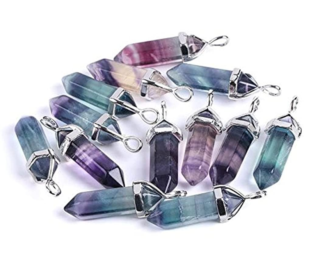 1 Pcs 1.6'' Carved Lucky Hexagonal Chakra Pendant ,DIY Accessory for Necklace 40mm (Fluorite)