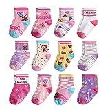 Yafane 12 Paar Baby Socken Antirutsch Anti-Rutsch Neugeborenes Kinder Kleinkinder Babysocken Rutschfest für Baby Jungen und Mädchen (Dunkelpink, 3-5 Jahre)