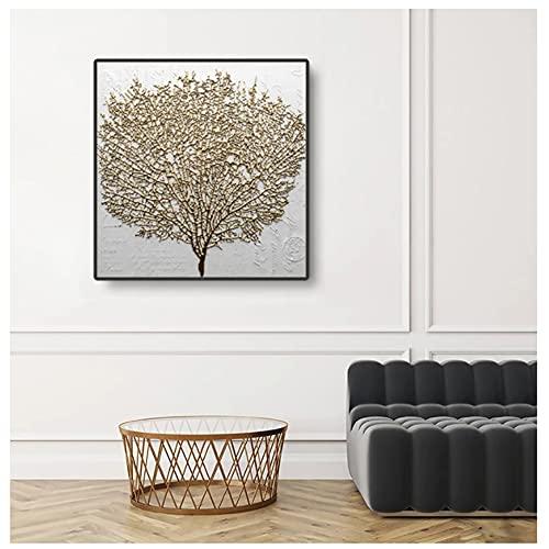 Arte abstracto del árbol dorado Impresión plana Carteles de lona Arte moderno de la pared Decoración de la habitación Pintura Decoración escandinava para el hogar 50x50cm (19.6x19.6in)