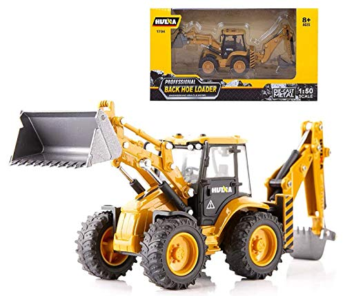 Gemini&Genius 1/50 Scale Die-cast Articulated Excavator Backhoe Loader Truck Engineering Vehicle Construction Tractor Alloy Models Toys for Kids (Back Hoe Loader)