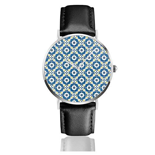 Armbanduhr, klassisches Lederband, portugiesische Fliesen, Schwarz