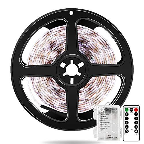 Bandes de LED à Piles 2 Mètres 60 LED Strip Lights avec Télécommande, Minuterie, 8 Modes, Dimmable, Auto-adhésif pour TV Cuisine Placard Chambre Décor à la Maison (Blanc Froid)