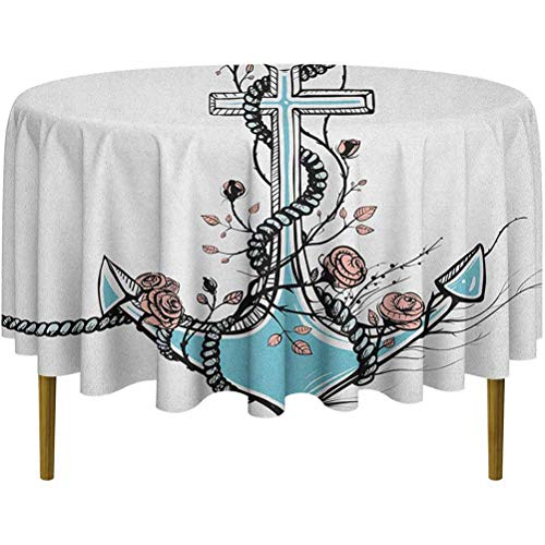ScottDecor Anchor Food Round Tablecloth Romantic Boho Design Sketch of an Old Anchor with Roses Black Ink Style Dinning Tabletop Pale Blue Pale Coral Diameter 36'