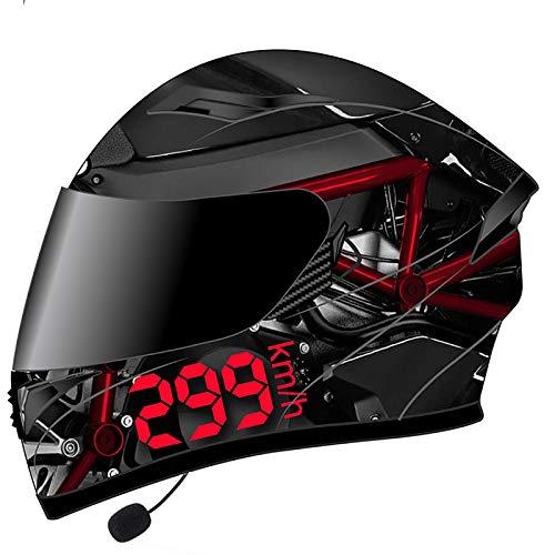 Bluetooth Integrado Modular Motocicleta del Casco Moto ciclomotor Street Bike Racing Moto Casco con Visera Solar Bluetooth Space,jóvenes Hombres y Mujeres Certificación ECE B,XXXL