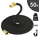 Garden Hose, IPSXP 50ft 15m Expandable Water Hose with Durable Double Latex Core, 3/4 Inch Solid Brass Connector, Best Abrasion Resistance High-Pressure Resistance for Car, Pet, Flower, Plant