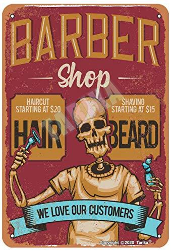 Barber Shop We Love Our Customers Tin 20 x 12 pulgadas Retro Look Decoración Art Sign para el hogar, cocina, baño, granja, jardín, garaje, citas inspiradoras decoración de pared
