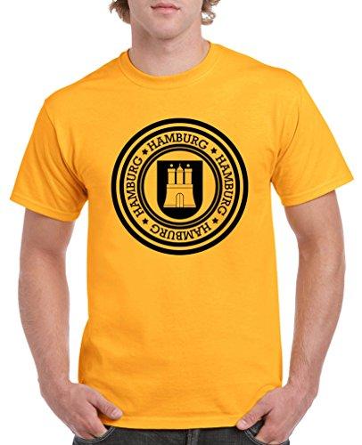 Comedy Shirts - Stadtwappen Hamburg - Herren T-Shirt - Gelb/Schwarz Gr. XL