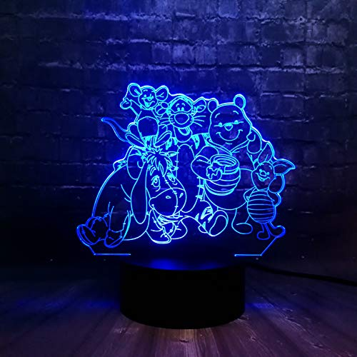 3D Lindo Oso Tigre Lámpara Led Luz Nocturna Óptico Illusions 7 Cambi