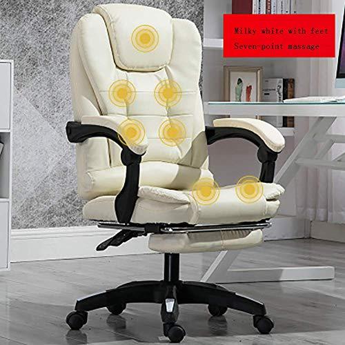 ZXL Home Computer Schreibtisch Sessel Boss Bürostuhl Mit Fußstütze Armlehne Liege Pu Leder Verstellbarer Drehbarer Lift Massagestuhl, B,C.