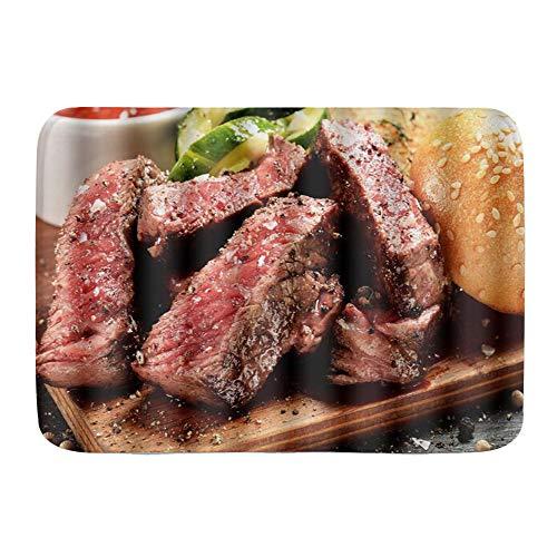 WOTAKA Tapis de Bain,Prime Black Angus Steak Burger Moyen Rare degré de Cuisson du Steak Impression Graphique,Tapis de Bain antidérapant hautement Absorbant