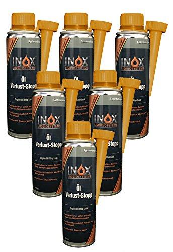 INOX® Öl Verlust Stop Additiv, 6 x 250 ml - Öl-Zusatz verhindert Ölleck im Motor, für alle KFZ Motoren
