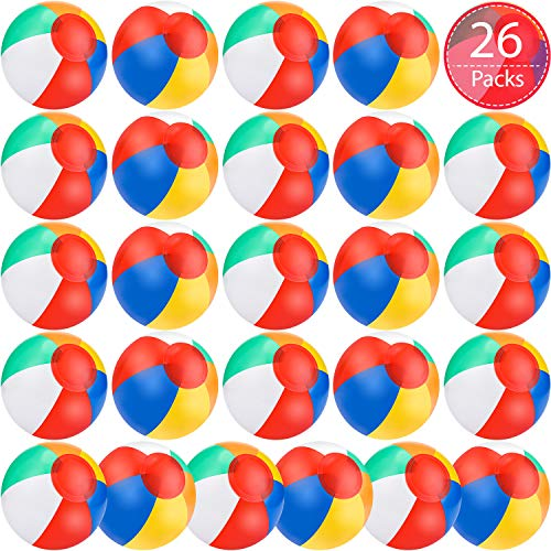 Outus 26 Pieces Beach Balls Inflatable Beach Balls Rainbow-Colored Beach Balls Pool Party Balls in 6 Inch for Kids Adults Summer Beach Pool Water Swimming Birthday Party Favors and Decoration