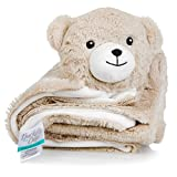 Buckets of Cute Plush, Knitted Fleece Baby Blanket - Large [30'x30'], Warm Security Blanket for Babies & Toddlers - Fuzzy, Fluffy Comfort in Adorable Animal Friend Design (Rory The Bear)