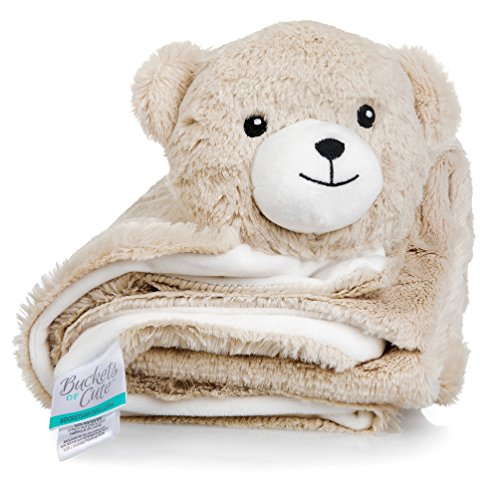 Buckets of Cute Plush  Knitted Fleece Baby Blanket - Large [30 x30 ]  Warm Security Blanket for Babies & Toddlers - Fuzzy  Fluffy Comfort in Adorable Animal Friend Design (Rory The Bear)