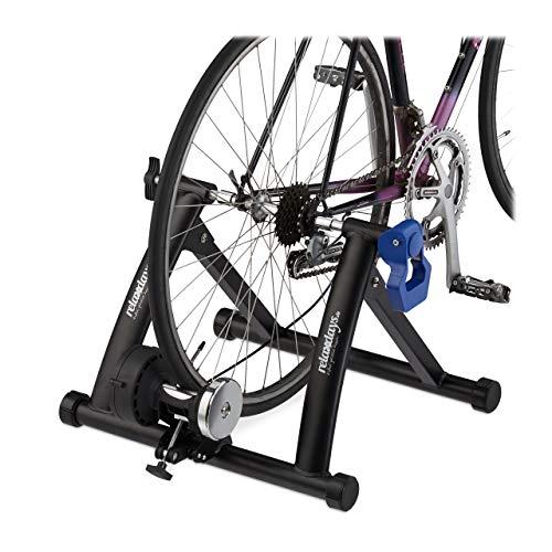 Relaxdays Rollentrainer Fahrrad, klappbarer Radtrainer für 26-28 Zoll Reifen, indoor, Magnetbremse, rutschfest, schwarz