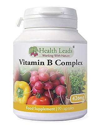 Vitamin B Complex x 90 Capsules, Powerful Balanced Formula, Vegan, Contains All 8 B Vitamins B1, B2, B3 (Niacin), B5, B6, B12, Biotin & Folate, Magnesium Stearate Free, Formulated & Made in Wales