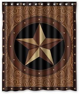 FMSHPON Western Texas Star Polyester Bathroom Shower Curtain 60x72 Inches