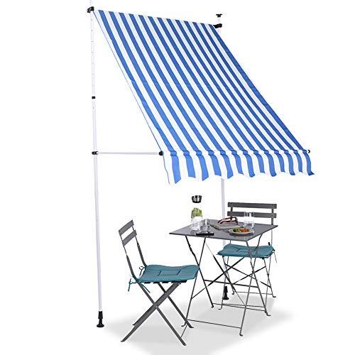YCSD Klemmmarkise Grau150 X 120 X 200-300cm Markise Balkonmarkise Sonnenschutz Ohne Bohren (blau Und Weißer Streifen)