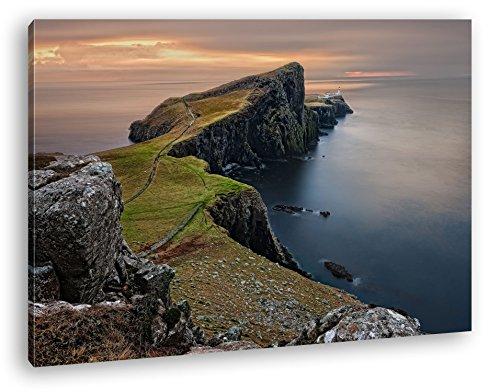 deyoli atemberaubende Felsenküste in Schottland Format: 80x60 als Leinwandbild, Motiv fertig gerahmt auf Echtholzrahmen, Hochwertiger Digitaldruck mit Rahmen, Kein Poster oder Plakat