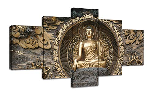 5 Panels Gautama Buddha Main Canvas Wall Art Religion Picture Canvas Prints Zen Buddha Painting Peaceful Zen Artwork for Home Living Room Bedroom Bathroom Office Decor Framed Ready to Hang