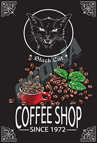 OSONA Svart katt kafé retro nostalgisk traditionell rostfärg burk logga reklam slående väggdekoration gåva