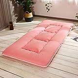 JKL J-Almohada Plegable Tatami Estera del Piso, futón japonés Cojín de Suelo Colchón, Espesar Transpirable colchón de la Cama Topper Pad, for Dormitorio (Color : Pink, Size : 100x200cm(39x79inch))