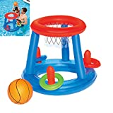 Inflatable Pool Float Set Volleyball Net & Basketball Hoops Balls for Kids and Adults Swimming Game Toy, Floating, Summer Floaties, Volleyball Court Basketball