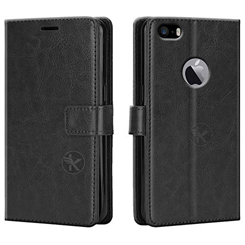 Dgeot® Leather flip Case compatible with Apple iPhone 5S | Inside TPU with Card Pockets | Wallet Stand | Magnetic Closure | 360 Degree Complete Protection Vintage Flip Cover for Apple iPhone 5S - Black
