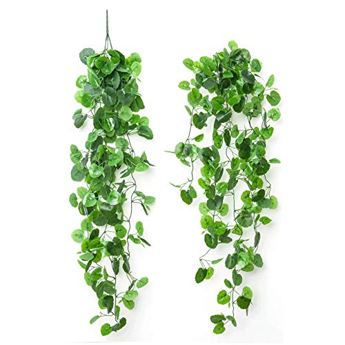 4pcs Artificial Hanging Plants Fake Vine Ivy Leaves Garland Greeny Chain Wall Home Room Garden Wedding Garland Outside Decoration
