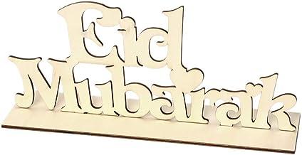 """cici store Enfeite de madeira natural Eid Mubarak, presente de decoração de mesa de sala com letras """"faça você mesmo"""""""