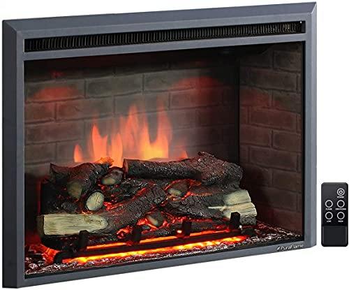 PuraFlame Western Electric, 33 Inches, Fireplace Insert, Remote Control, Black 750/1500W,