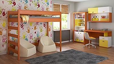 Camas altas para niños Niños Juniors + colchón 140x70 / 160x80 / ??180x80 / ??180x90 / 200x90 Viene con colchón de espuma de 10 cm y escalera en el lado (borde corto)