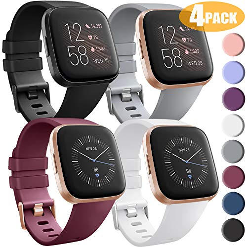 [4 Pack] Bands Compatible with Fitbit Versa 2, Fitbit Versa, Versa Lite/SE, Assorted Soft Silicone Patterned Wristbands, Black/Wine Red/White/Grey, Small