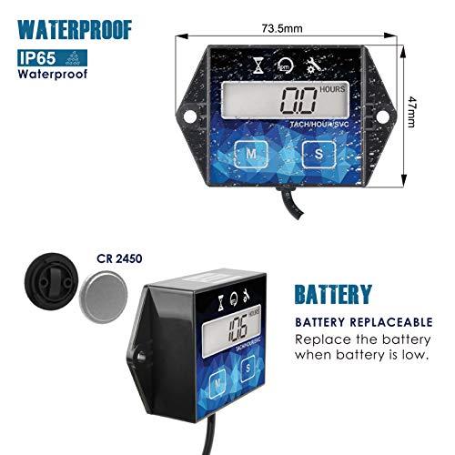 Runleader Digital Hour Meter Tachometer, Maintenance Reminder, Battery Replaceable, User Shutdown , Use for ZTR Lawn Mower Tractor Generator Marine Outboard ATV (HM011F)