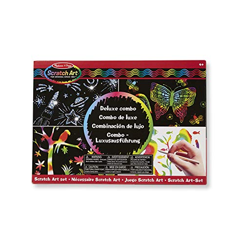 Melissa & Doug Scratch Art Deluxe Combo Set (kunst & ambacht, verbergt kleuren & patronen, gemakkelijk te gebruiken, benodigdheden voor 16 projecten, 34,925 cm H x 24,765 cm B x 3,81 cm L)
