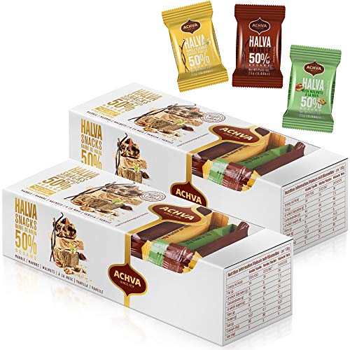 Variety Pack of Halvah Marble, Vanilla, and Walnut Israel Candy Bars– Vegan-Friendly, Certified Kosher Snacks with No Dairy or Gluten by Achva, 25 g. Each (2 Pack) by Achva