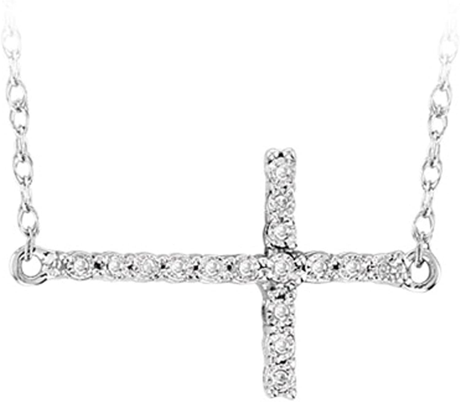 0.05 Carat (ctw) Sterling Silver Sideways Cross Round White Diamond Ladies Pendant with 18 inch Chain