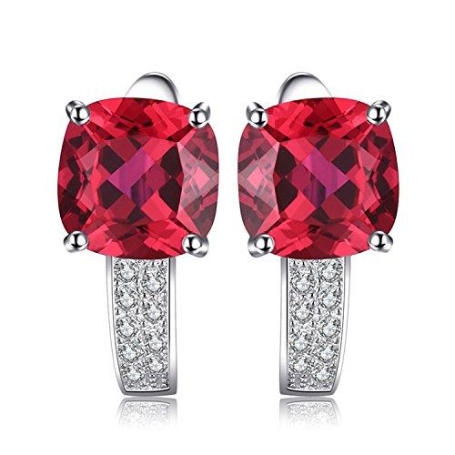 JewelryPalace Gioiello Donna Cuscino 4.6ct Creato Rosso Rubino Clip-on Orecchini a Cerchio Argento Sterlina 925