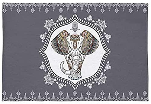Zerbino con elefante e fiori mandala, morbido e assorbente, in stile etnico indiano, floreale, di lusso, confortevole tappeto per bagno doccia (45 x 80 cm)