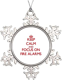 Blafitance Tree Branch Decoration Danger Signal Keep Calm and Focus on Fire Alarms Garden Snowflake Ornaments