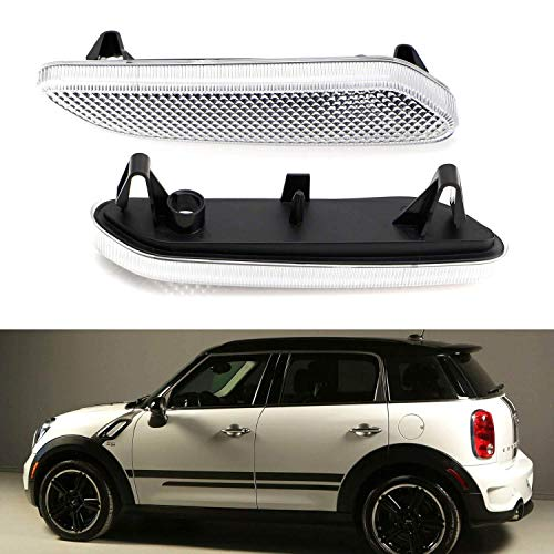 iJDMTOY Euro Clear/White Lens Front Fender Side Marker Blinker Light Housing w/Clear W5W Bulb Replacements Compatible With 2011-2016 MINI Cooper R60 Countryman R61 Paceman