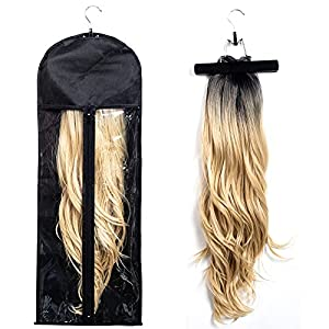 1 Pack Extra Long Hair Extension Holder Wig Storage Bag with Hanger Hairpieces Ponytail Bundles Storage Carrier Case for Store Style Hair Travel Hair Extensions Bag Black Color