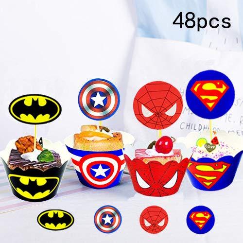 Envoltorio para tartas de superhéroe (48 unidades), decoración para tartas de superhéroe, suministros para fiesta de superhéroes, decoración para pasteles de Superman